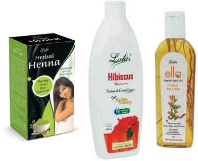 lalas Hibiscus Shampoo,Ella Herbal HairOil and Herbal Henna