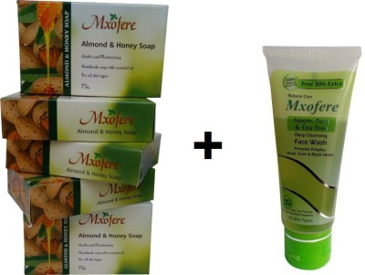 Mxofere Combo Almod Honey Soap And Neem Tulsi Teatree Facewash Kit