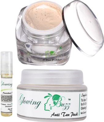 Glowing Buzz Combo of Natural Anti Tan Pack for Face, Dark Under Arms and Hands, D-tan Polisher and Nourishment Vitamin E