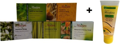 Mxofere Combo Neem Tulsi Sandal Turmeric Jasmine Lemongrass Almond Honey Soap Kit