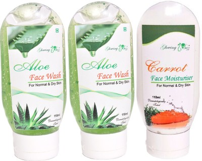 Glowing Buzz Combo of 2 Aloe Face Wash and 1 Carrot Moisturiser for normal to dry skin