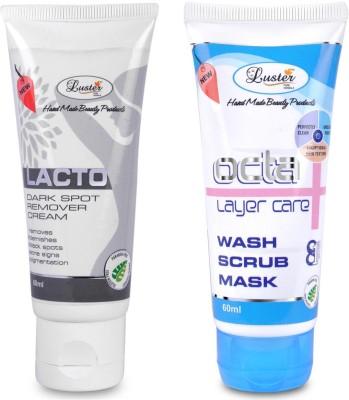 Luster Lacto Dark Spot Remover Cream & Octa Wash Scrub Mask - Instant Facial (Set of 2)