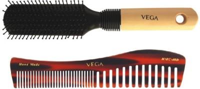 Vega Premium Flat Hair Brush E8-Fb With Shampoo Comb Hmc 48d