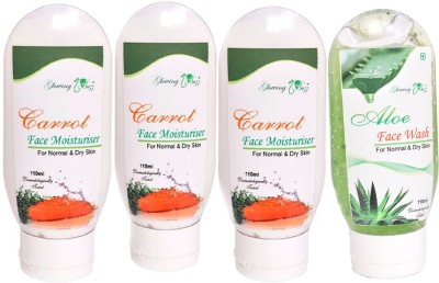 Glowing Buzz Combo of 1 Aloe Face Wash and 3 Carrot Moisturiser for normal to dry skin