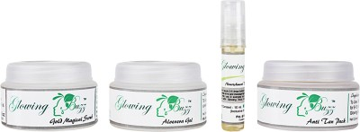 Glowing Buzz GB_55116633 - Combo of Scrub, Vit E oil, Aloe gel, AntiTan pack