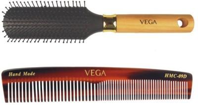 Vega Flat Brush (Regular) E1-Fb With Graduated Dressing Comb Hmc-09d