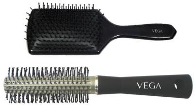 Vega Premium Paddle Hair Brush 8586 With Basic Round Hair Brush R10-Rb
