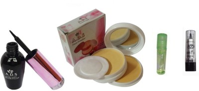 ADS 1612 Eyeliner, Kajal, Compact Powder, Lip Gloss(Set of 4)
