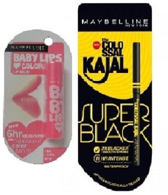 Maybelline New York Colossal Kajal Super Black & Baby Lips Pink Lolita