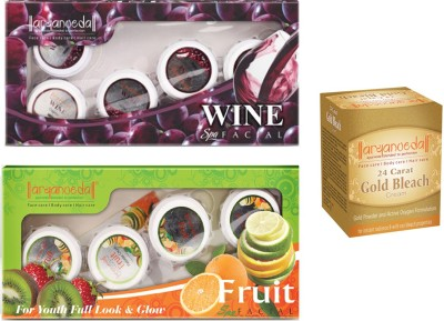 Aryanveda Wine & Fruit Facial Kit (210gm) With One Gold Bleach (43gm)