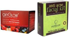 Oxyglow Golden Glowmutli Fruit Bleach & Anti Acne Facial Kit 155gm