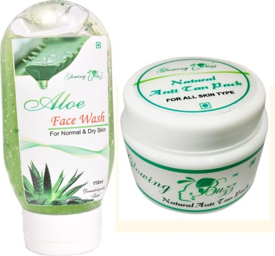 Glowing Buzz Combo of 1 Aloe Face Wash And 1 Anti Tan Pack for face, hand and under arms