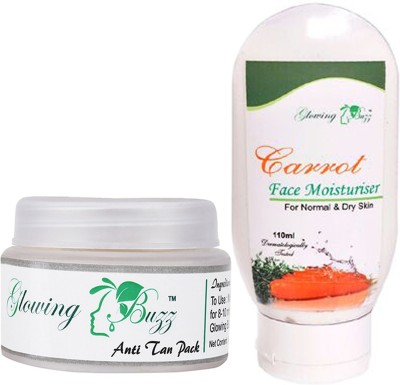 Glowing Buzz Combo of Natural Anti Tan Pack for Face, Dark Under Arms and Hands and Carrot Moisturiser