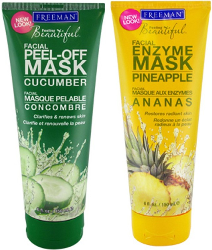 Freeman 1 Cucumber Mask,1 Pineapple Mask(Set of 2)