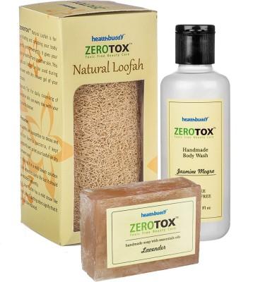 Healthbuddy Zerotox Handmade Body Wash Jasmine Mogra (210 ml), Lavender Soap (125 gm) & Natural Loofah