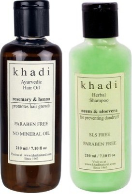 khadi Natural Ayurvedic Paraben Free Hair Growth Oil With Shampoo Combo