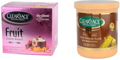 Clear Face Fruit Cream Bleach & 24 K Multi Vitamin Scrub Skin Rejuvenator
