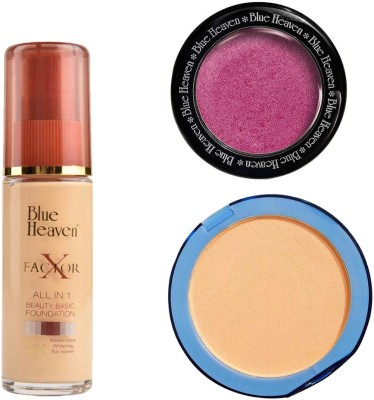Blue Heaven X Factor Foundation (Natural), Silk On Face Compact (Natural) & Diamond Blush on 501
