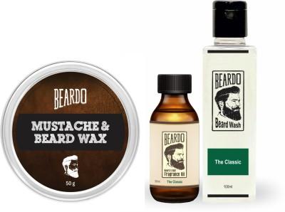 Beardo The Classic Beard Oil (30ml), Wash (100ml) & Wax (50g) Combo