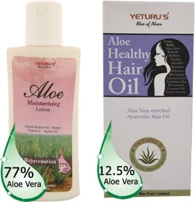 Yeturu's Aloe Moisturising Lotion (Aloe Vera 77%) 100ml & Aloe Healthy Hair Oil (Aloe Vera 12.5%) 80ml