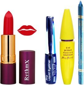 Rythmx Lipstick ,Black Eyeliner,Kajal, Jet Mascara Makeup Combo Pack(Set of 4)