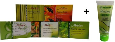 Mxofere Combo Lemongrass Papaya Aloevera Almond Honey Neemtulsi Soap Kit