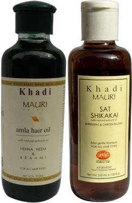 Khadimauri Amla Hair Oil & Shikakai Sat Shampoo Combo Pack of 2 Herbal Ayurvedic Natural 210 ml each