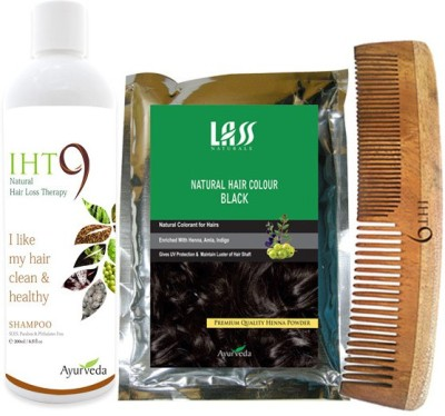Lass Naturals Iht9 Hair Regrowth Shampoo with Natural Black Hair Colour +Neem Wood Hair Comb LC-2