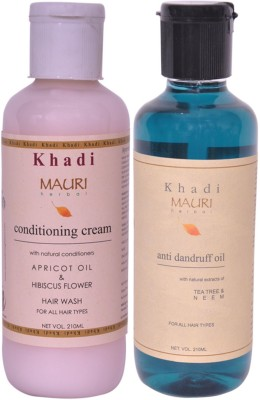 Khadimauri Conditioning Cream Shampoo & Anti Dandruff Oil Combo Pack of 2 Ayurvedic Natural 210 ml each