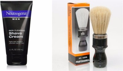 Neutrogena Skin Clearing Shave Cream with Omega (Made In Italy) 100% Hog Bristle Shaving Brush