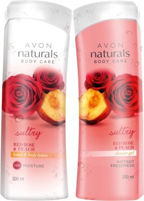 Avon Naturals Red Rose Peach Body Lotion 200ml (Restage) & Shower Gel