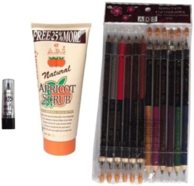 ADS Eye And Lip Liner Pencil 12 Pieces / 50 gm Scrub / Kajal