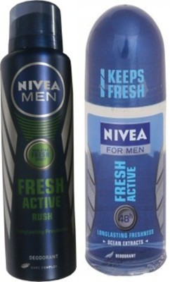 Nivea Fresh Active Rush Body Spray,Fresh Active Roll On