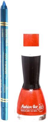 Fashion Bar Shimmer Orange Nail Polish With Pro Non Transfer Turquoise Blue Kajal 85