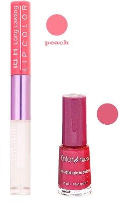 Color Fever Long Lasting 207201629 Peach Lipstick+Red Nail Polish