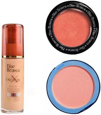 Blue Heaven X Factor Foundation (Blush), Silk On Face Compact (Pink) & Diamond Blush on 503