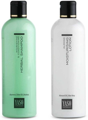 Yaso Naturally Almond Moisturising Lotion + YASO Herbal Shampoo 2 x 200ml Combo Pack
