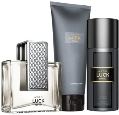 Avon Luck For Him Hair & Body Wash, Edp And Body Spray