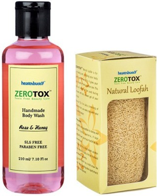 Healthbuddy Zerotox Handmade Body Wash Rose & Honey, 210 ml & Natural Loofah