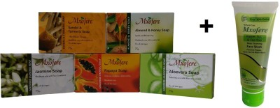 Mxofere Combo Sandal Turmeric Almond Honey Jasmine Papaya Aloevera Soap Kit