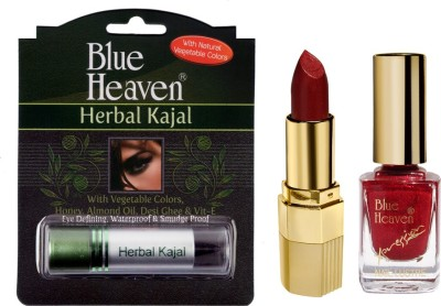 Blue Heaven Xpression Lipstick M 012, Xpression Nail Paint 923 & Herbal Kajal Combo.