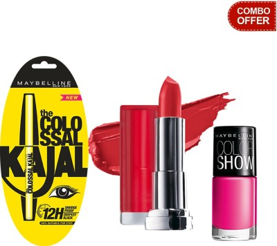 Maybelline The Colossal Kajal with Color Show Lip Color and Color Show Nail Color