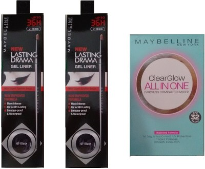 Maybelline Lasting Drama Gel Liners and Clearglow Compact (Nude)