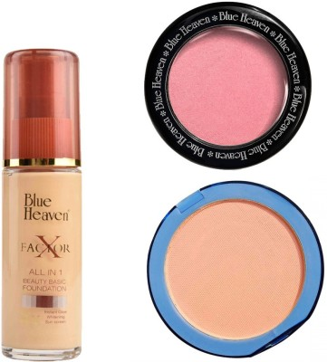 Blue Heaven X Factor Foundation (Natural), Silk On Face Compact (Blush) & Diamond Blush on 504