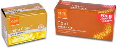 VLCC Gold Polishing Facial Kit & Insta Glow Gold Bleach