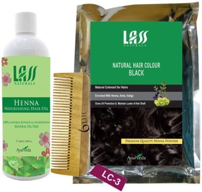 Lass Naturals Henna Hair Oil with Natural Black Hair Colour+Neem Wood Hair Comb LC-3