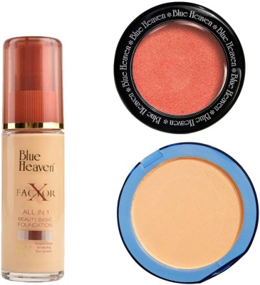 Blue Heaven X Factor Foundation (Natural), Silk On Face Compact (Natural) & Diamond Blush on 503