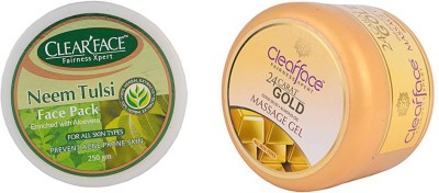 Clear Face Neem Tulsi Face Pack (Enriched With Aloevera) With 24 Carat Gold Dust Almond Oil Massage Gel