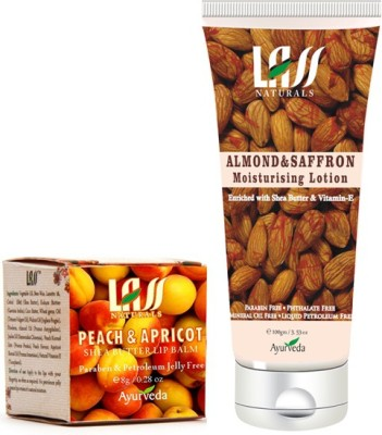 Lass Naturals Peach And Apricot Lip Balm With Almond And Saffron Moisturing Lotion