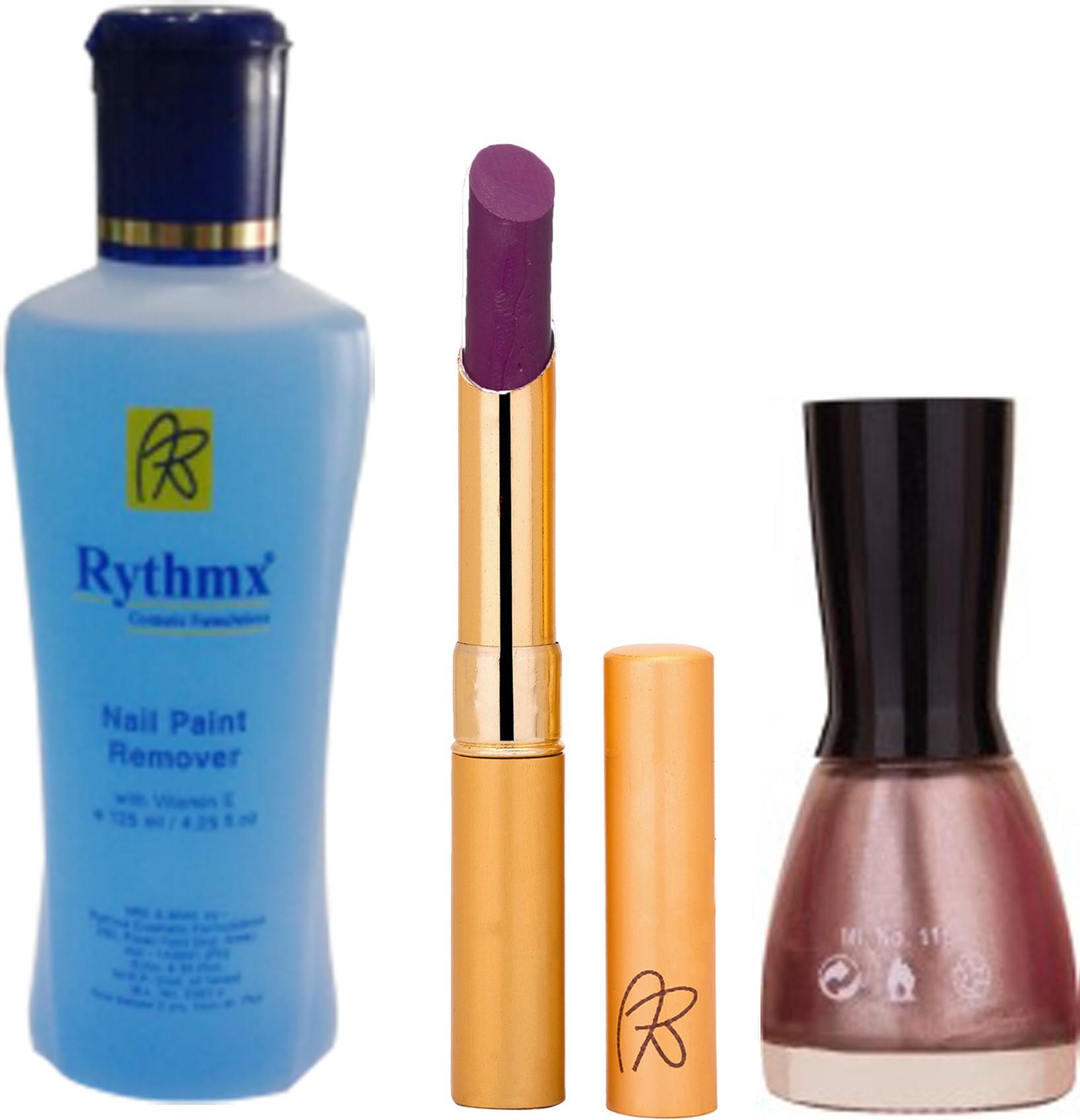 Rythmx RythmX Purple Lipstick +Nail Polish Combo 2206201618(Set of)